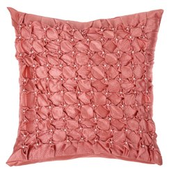 Designer Peach Handmade Square Cushion Cover