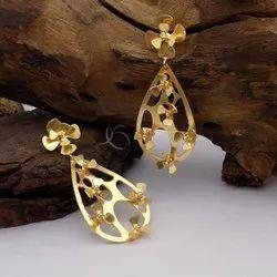Gold Plated Flower & Drop Design Earring Drop&Dangle Earring Brass Jewelry Party Wear Jewelry