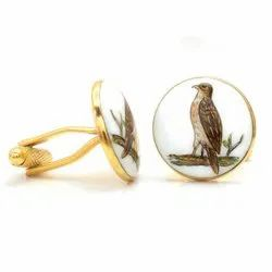 Hand Painted Bird Cufflinks In 92.5 Sterling Silver And Enamel