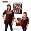 Cotton Casual Wear V Neck Ladies Short Kurti, Wash Care: Handwash