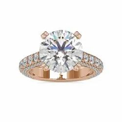 DEF Round Cut Full White Moissanite White,Yellow,Rose Gold For Engagement