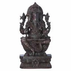 Rain Wood Black Bhaktha Ganapathi Statue, Size/Dimension: 12x5x24 Inch