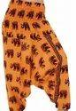 Digital Printed Colorful Elephant Print Cotton Harem Pants, Waist Size: Large