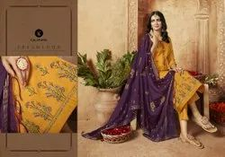Ziyaa Jam Silk With Embroidery Work With Designer Dupatta Traditional Unstitched  Suits