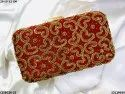 Heart Embroidery Ethnic Box Clutch