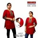 Cotton Casual Wear Round Neck Short Kurtis, Wash Care: Machine Wash