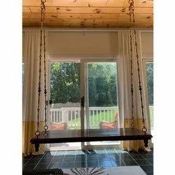 Brown Teak Wood Indoor Swings, Hand Carving, Size: 5x2Feet