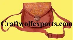 craftwolfexports.com Brown Leather Ladies Bag, Size: 20.7x17x8 Cm