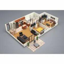 Living Room Interior 3D Floor Plan Design Service