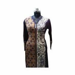V-Neck Full Sleeve Ladies Woolen Long Kurti, Size: S-xxl, Hand Wash