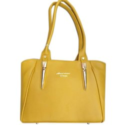 Modern Ladies Yellow Plain Leather Handbag