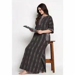 Printed Ladies Cotton Nightgown, Medium