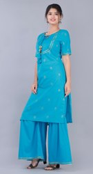 Round Neck Half Sleeves MAYA Ladies Cotton Palazzo Suit