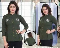 Ladies Green Printed Cotton Top
