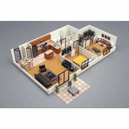Modular Kitchen Wardrobe 3d House Map Design Service In Pan India Id 22032194088