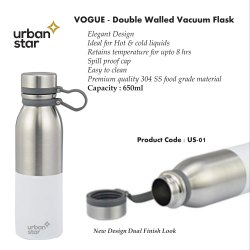 Stainless Steel White & Silver Vogue - Double Walled Vaccum Flask - Insulated Bottle, For Office, Model Name/Number: Us-01
