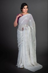 Embroidered Party Wear Fancy Viscose Mukesh Work Chikan Saree, 6 m (with blouse piece)