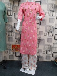Ladies Rayon Printed Palazzo Suit, Size: M - Xxl