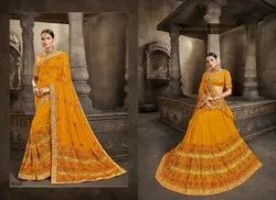 Yellow Color Designer Embroidery Silk Saree