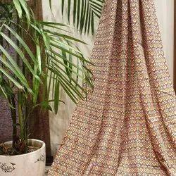 Orange Lavanya Cotton Small Check Printed Fabric