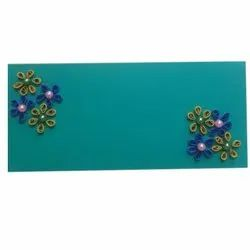 Decorative Floral Quilling Green Paper Envelope, Size: 4 X 9 Inch