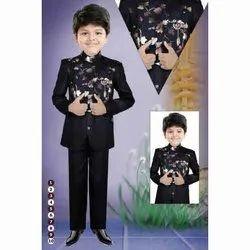 Black Kids Printed Jodhpuri Suits, Size: 18-36