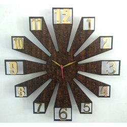Brown Analog Decorative Wooden Wall Clock, For Decoration, Size: 22 Inches (diameter)