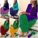 Pure Cotton Bandhej Patiyala Suit