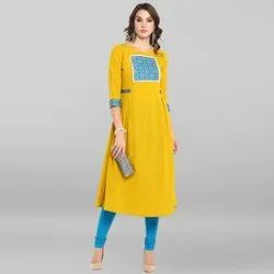 Janasya Women''S Yellow Poly Crepe Kurta (JNE3398)