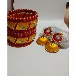 Silk Thread Jhumkis Party Wear Bangle Earring Set