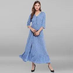 Janasya Women''s Blue Rayon Crepe Ethnic Dress (J0058)