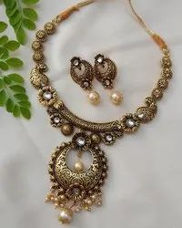 Golden Alloy Antique Jewellery Set With Earrings, Size: Free Size