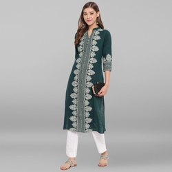Janasya Women's Green Cotton Flex Kurta(JNE3540)