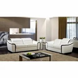 RK Black And White Leather Modular Sofa Set, For Home