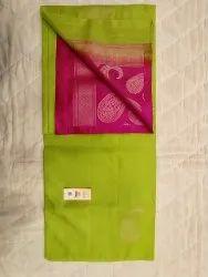 Parrot Green & Pink Color Silk Saree