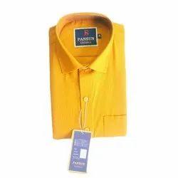 Pansun Plain Men Yellow Cotton Shirt, Machine Wash