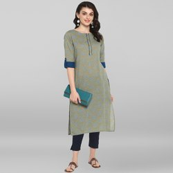 Janasya Women's Green Pure Cotton Kurta(JNE3545)