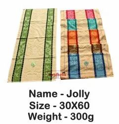 Mandhania Multicolor Jolly Jacquard Cotton Bath Towels With Flower Embroidery, For Bathroom, 250-350 GSM