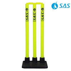 Cricket Rubber Stump Base With Plastic Stumps - Glare (Fl. Yellow/Black)