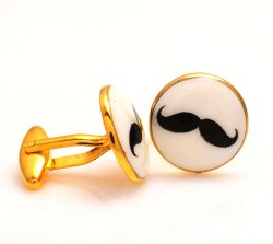 Cufflinks With Hand Painted Royal Mustache In .925 Silver