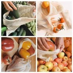 100% Super Soft Cotton One Side Mesh Muslin Bags