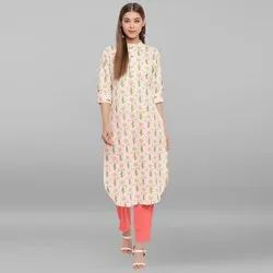 Janasya Women's Cream Cotton Flex Kurta (JNE3539)