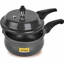 Black Aluminium 3.5 Ltr Solitaire Handi Hard Anodized Outer Lid Pressure Cooker, For Kitchen