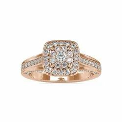 Round Cut Full White Moissanite Gold Ring With Accents For Engagement