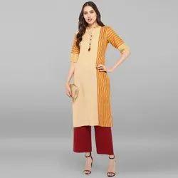 Janasya Women's Yellow Cotton Kurta With Palazzo(SET114)