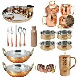 Hammered Round Copper Ware Utensils, For Restaurant, Packaging Type: Packet