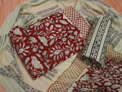 Red And Golden Printed Cotton Unstitched Women Suits