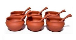 Reddish Brown Clay Soup Bowls Set, Set Contains: 6 Bowl And 6 Spoon
