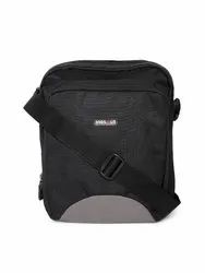 Adjustable BagsRUs Polyester 28 cms Black Messenger Sling Bag, For Office, 250 Gram