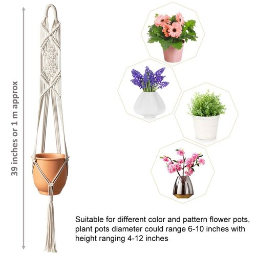 White Macrame Cotton Plant Hanger Rope Flower Pot Holder For Balcony Size 39x10x10 Rs 170 Piece Id 22568163773